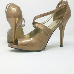 Carlos Santana gold open toe heels size 8